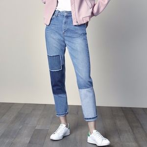Women's Topshop Patchwork High-Rise Mom Jeans